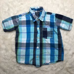 Izod Blue Plaid Button Up Shirt Size 3T